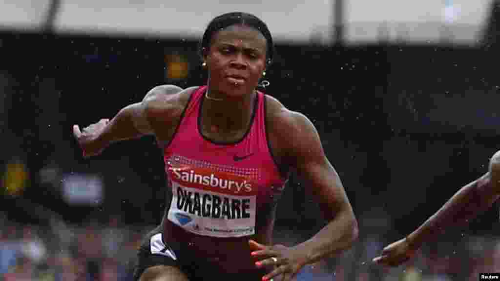 Blessing Okagbare of Nigeria wins the women's 100m at the London 'Anniversary Games.'