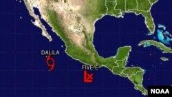 Tanto la tormenta tropical Dalila como la depresión tropical recién formada se alejan de las costas de México.