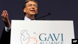 FILE - Microsoft founder and philanthropist Bill Gates speaks at the Global Alliance for Vaccines and Immunisation, GAVI, conference in London June 13, 2011.