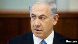PM Israel Benjamin Netanyahu saat menghadiri pertemuan kabinet mingguan di Yerusalem, Minggu (1/6).
