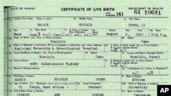 Barak Obama 1961 yilning 4 avgustida Gavayi shtatida tug'ilgani haqidagi guvohnoma