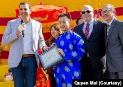 Anh Quyền nhận được nhiều giải thưởng và bằng khen cho những đóng góp của anh cho cộng đồng và xã hội. (Courtesy of Quyen Mai)