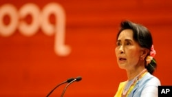 Myanmar's State Counselor Aung San Suu Kyi speaks during the opening ceremony of the second session of the 21st Century Panglong Union Peace Conference at the Myanmar International Convention Centre in Naypyitaw, Myanmar, May 24, 2017.