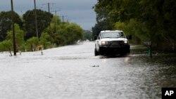 30일 허리케인 '하비'가 몰고온 폭우로 미국 루이지애나주 로와 시의 도로가 침수된 가운데 트럭 한 대가 빗길 위를 운전해가고 있다.