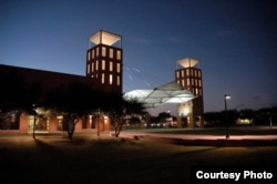 The Emerging Technology Building on the Del Mar College campus at night.