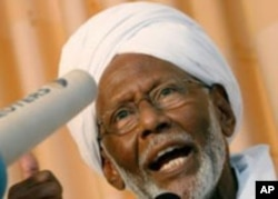 Hassan Al-Turabi, leader of Sudan's opposition Popular Congress Party (PCP)