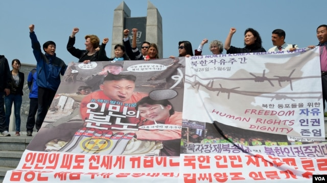 "Activists chant ""Liberate North Korean compatriots"" at peace park near the DMZ, May 4, 2013. (R. Kalden/VOA)"