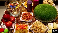 Традиционные праздничные угощения к Новрузу. Баку, Азербайджан