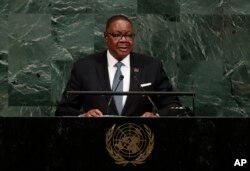 Malawi's President Arthur Peter Mutharika addresses the United Nations General Assembly, Sept. 20, 2017.