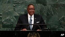 Peter Mutharika s'adresse à l'Assemblee generale des Nations Unies, New York, le 20 septembre 2017