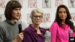 Rachel Crooks, left, Jessica Leeds, center, and Samantha Holvey attend a news conference, Dec. 11, 2017, in New York to discuss their accusations of sexual misconduct against Donald Trump. The women, who first shared their stories before the November 2016 election, called for a congressional investigation into Trump's alleged behavior.
