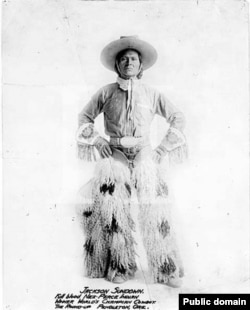 Photo of Jackson Sundown, Winner World's Champion Cowboy, The Round-Up, Pendleton, Ore., ca. 1916.