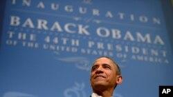 Претседателот на САД, Барак Обама, на инаугуралниот прием во Националниот градежен музеј во Башингтон на 20-ти јануари 2013-та.