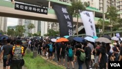 港人反送中游行要求撤回逃犯条例修订。