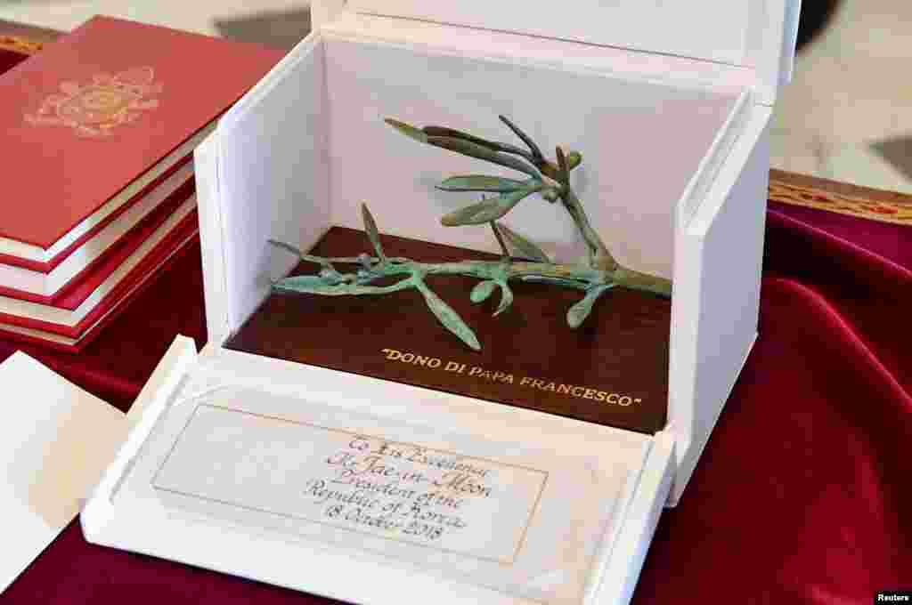 شاخه زیتون نماد صلح؛ هدیه پاپ فرانسیس به رئیس جمهوری کره جنوبی در واتیکان