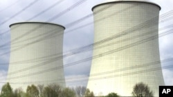 Cooling towers at a nuclear power plant in Biblis, Germany.