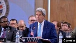 14일 도미니카 공화국 산토도밍고에서 진행된 미주기구 회의에서 발언하는 존 케리 미국 국무장관.