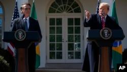 پرزیدنت ترامپ در کنفرانس خبری در کاخ سفید به همراه رئیس جمهوری برزیل