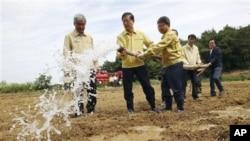 韩国总理金滉植(左二)6月26日在视察韩国华城遭遇大旱的农田时给干涸的稻田浇水