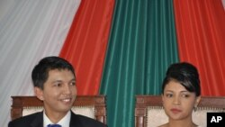 Madagascar's leader Andry Rajoelina (left) and his wife