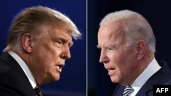 FILE - A combination of photos shows U.S. President Donald Trump (L) and Democratic presidential candidate former Vice President Joe Biden squaring off during the first presidential debate in Cleveland, Ohio, Sept. 29, 2020.