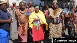 Peter Zwide Kalanga Khumalo (far left) captured in recent commemorations to mark the life of King Mzilikazi