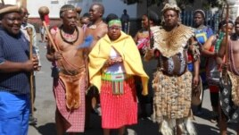 Peter Zwide Kalanga Khumalo (far left) captured in recent commemorations to mark the life of King Mzilikazi