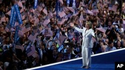 Democratic presidential candidate Hillary Clinton accepts the nomination on the final day of the Democratic National Convention, Thursday, July 28, 2016, in Philadelphia. (AP Photo/John Locher)