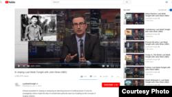 2018年6月17日,HBO的约翰·奥利弗上周今夜秀播出了关于习近平的节目。节目在微博上受到严格审查。(Last Week Tonight with John Oliver/HBO)