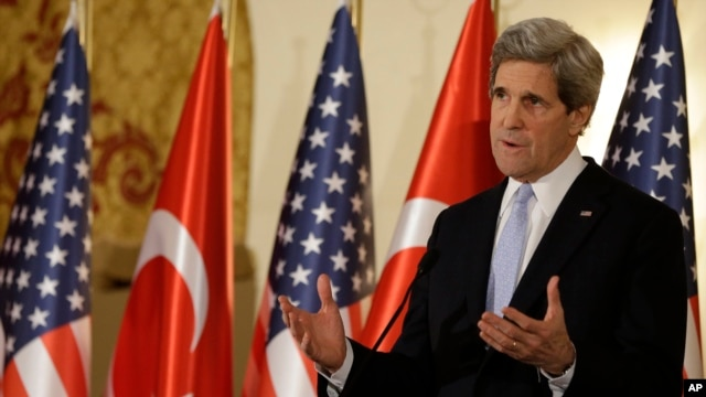 U.S. Secretary of State John Kerry speaks during a news conference with Turkish Foreign Minister Ahmet Davutoglu, not pictured, in Ankara, Friday, March 1, 2013.