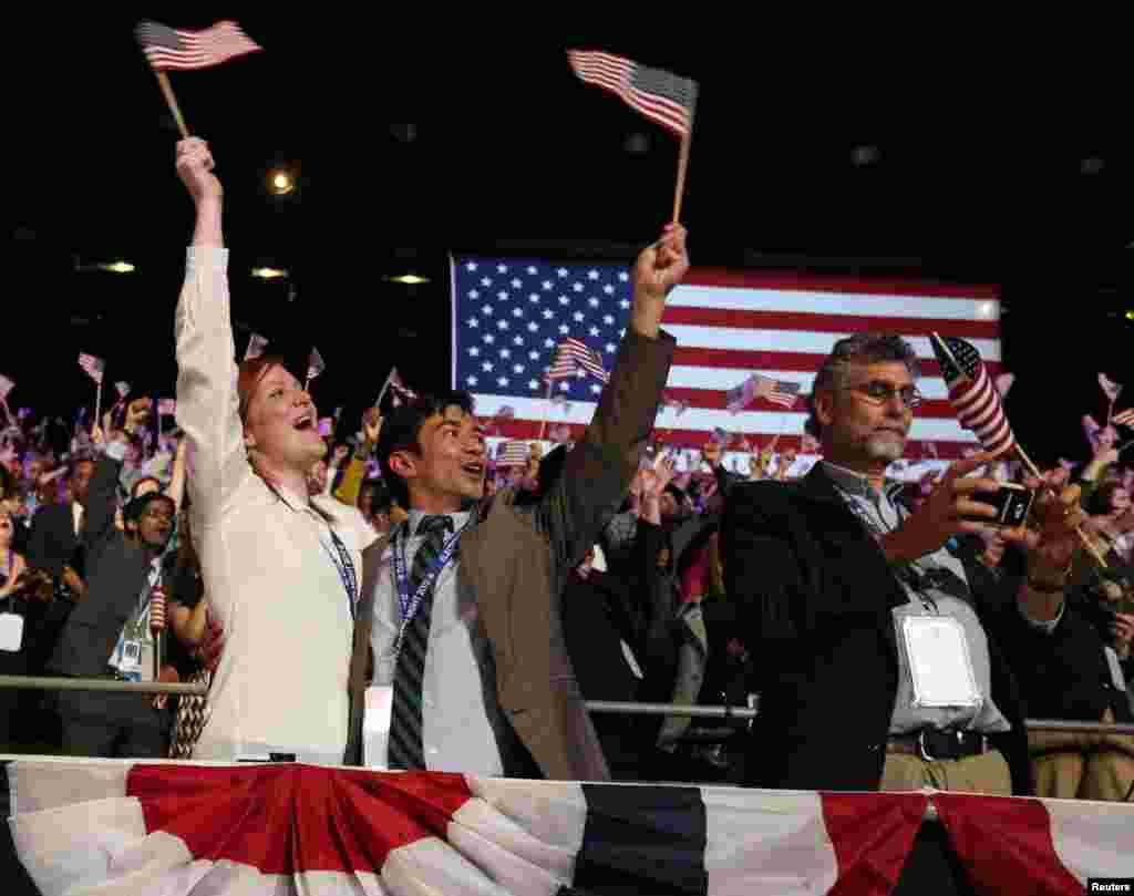 صدر براک اوباما کے حامی خوشی کا اظہار کر رہے ہیں