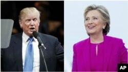 Ứng viên Tổng thống đảng Cộng Hòa Donald Trump (trái) và ứng viên đảng Dân Chủ Hillary Clinton, ngày 03 tháng 11 năm 2016.