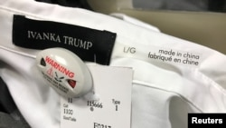 FILE - An Ivanka Trump-branded blouse is seen for sale at a retail store in Toronto, Canada, Feb. 3, 2017.