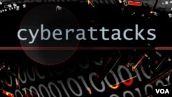 Binary code texture with CYBERATTACKS lettering, finished graphic