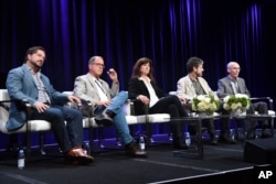"""From left, Bill Gardner, vice president of programming and development at PBS, producer Timothy Ferris, scientist Carolyn Porco, producer John Rubin and scientist Ed Stone participate in a discussion of """"The Farthest — Voyager in Space"""" during the PBS Television Critics Association Summer Press Tour in Beverly Hills, Calif., July 31, 2017."""