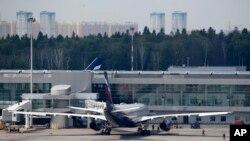 Chiếc máy bay Airbus A330 của hãng Aeroflot tại sân bay Sheremetyevo ở Moscow. Snowden không có mặt trên chuyến bay từ Moscow đi Havana.