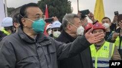 中國總理李克強在視察武漢新建醫院工地時講話。(2020年1月27日)