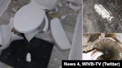گاز متان در چاه توالت در اثر اصابت رعد و برق شعله ور شده و موجب انفجار توالت شد.