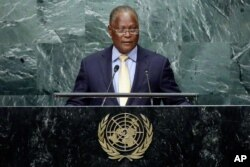 Haiti's interim President Jocelerme Privert addresses the 71st session of the United Nations General Assembly, at U.N. headquarters, Sept. 23, 2016.
