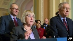 Sen. Patty Murray, D-Wash., center, joined by Senate Minority Leader Harry Reid, D-Nev., right, and Sen. Chuck Schumer, D-N.Y., speaks to reporters after the Senate voted to end debate on the makeover of the No Child Left Behind Act, setting up a final vote Wednesday, on Capitol Hill in Washington, Tuesday, Dec. 8, 2015. (AP Photo/J. Scott Applewhite)