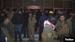 Photographie extraite de Twitter représentant des personnes après l'incendie dans l'hôtel d'Erbil, capitale de la région autonome du Kurdistan irakien.