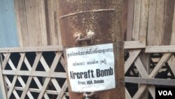 U.S. aircraft bomb on display at the Cambodian Landmine Museum on Saturday, January 9, 2016. (Hul Reaksmey/VOA Khmer)