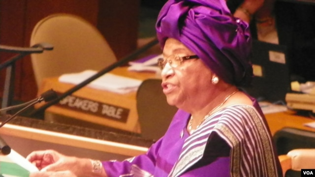 Liberian President Ellen Johnson Sirleaf addresses the 67th session of the UN General Assembly