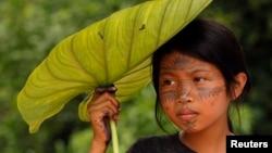 Una niña india sarayaku se cubre del sol en la selva de la amazonia ecuatorial.