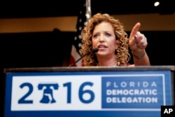 DNC Chairwoman, Debbie Wasserman Schultz, D-Fla., speaks during a Florida delegation breakfast, Monday, July 25, 2016, in Philadelphia, during the first day of the Democratic National Convention. (AP Photo/Matt Slocum)