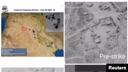 Una combinación de imágenes suministrada por el Departamento de Defensa de Estados Unidos sobre las bases de la milicia Kataeb Hezbollah en Irak atacadas el 29 de diciembre.