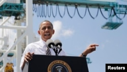 奧巴馬在佛州港口城市邁阿密訪問