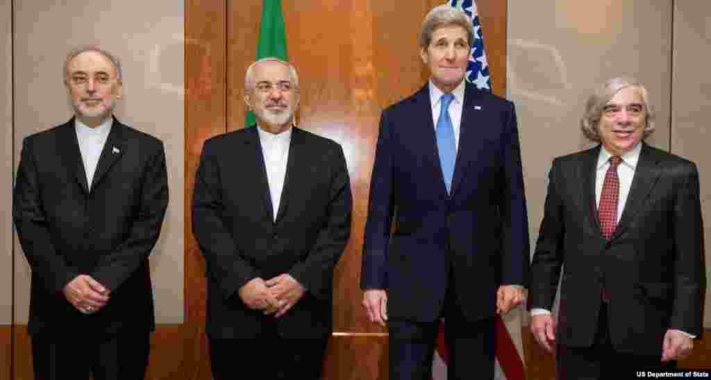 Secretary Kerry, Energy Secretary Moniz Stand With Iranian Foreign Minister Zarif and Vice President of Iran for Atomic Energy Salehi Before Meeting in Switzerland