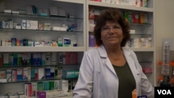 Pharmacy owner and phramacist Guliz Kaptan says she worries about Turkey's heavy dependence on imported medicine amid the nation's currency crisis, Aug. 17, 2018. (D. Jones/VOA News)