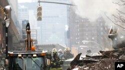 미국 뉴욕시 맨해튼 아파트 붕괴 현장 (자료사진)